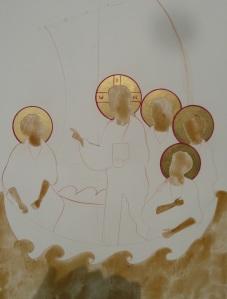 Une première couche a été posées : or pour les auréoles, proplasme pour les visages, les mains, la mer...